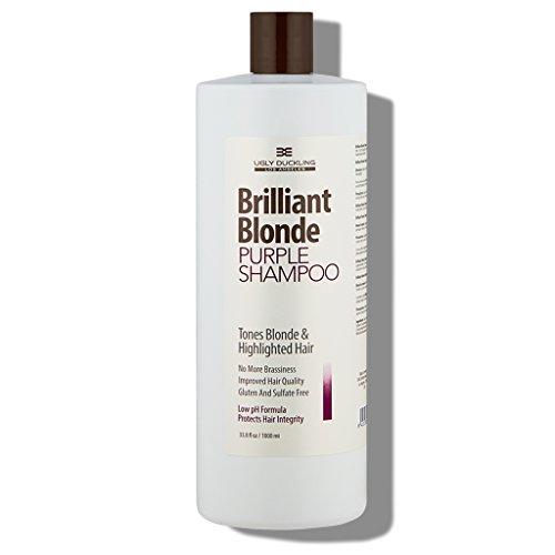 - Brilliant Blonde Purple Shampoo 33.8 oz (1000 ml). Tones Blonde & Highlighted Hair. Low pH Formula, Sulfate Free, Gluten Free
