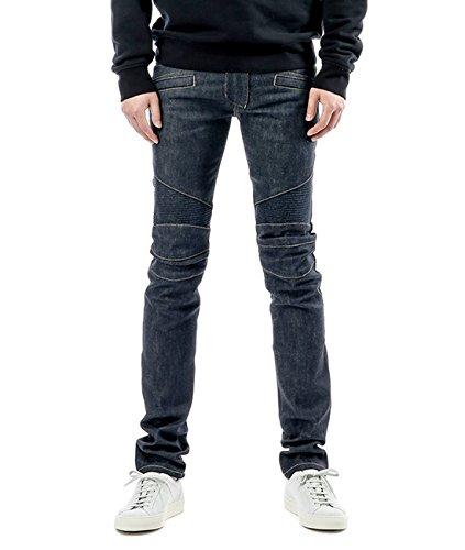 Wiberlux Balmain Men's Contrast Stitch Paneled Jeans 29 Dark Blue Raw Denim - Contrast Stitch Jeans
