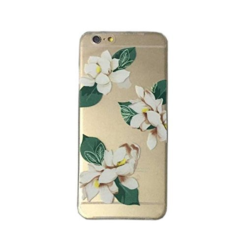 (DECO FAIRY Compatible with iPhone 6 Plus / 6s Plus, Natural White Flowers Nature lover flora Green Leaves Series Transparent Translucent Flexible Silicone Cover Case)