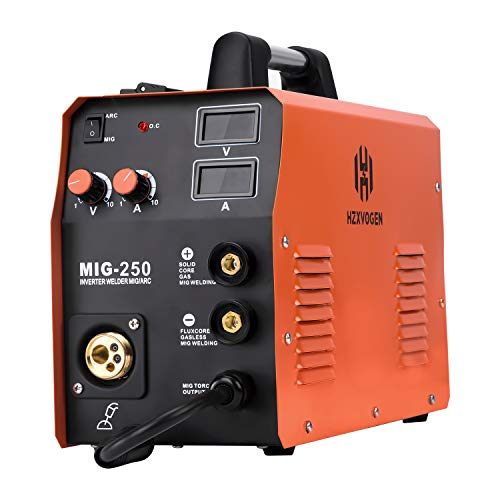 HZXVOGEN 220V Mig Welder IGBT Lift Tig Gas Gasless Stick Arc MMA Welding Machine No Gas Self- shielded Home Use Factory Machine (Mig250)