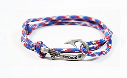Chasing Fin Adjustable Bracelet 550 Military Paracord With Fish Hook Pendant  Red White Blue
