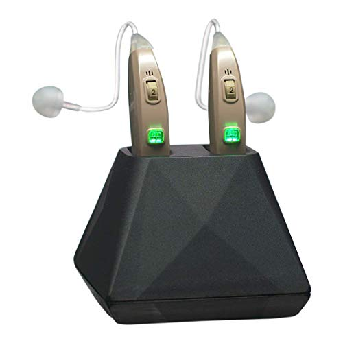 Hearing Assist Recharge | Rechargeable BTE Air Conduction Hearing Aid (Both Ears) | FDA Registered with Charging Case | TV Offer with Free Technical Support | Beige (Best Hearing Aids On The Market)