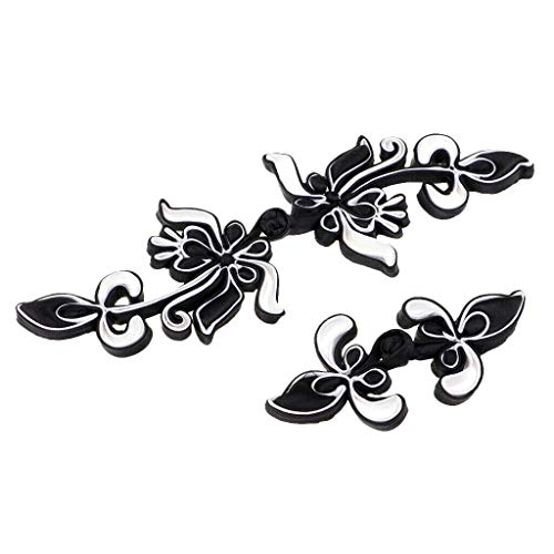 - 2 Set Chinese Frog Closure Flower Buttons Fasteners DIY Sewing for Cheongsam | Color - White Black