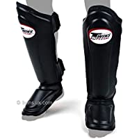 Twins Special Muay Thai Black Double Padded Leather Shin Pads (SGL10)