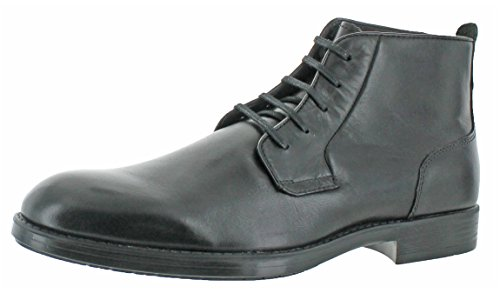 Moccasins Side Lace Boots (Calvin Klein Men's Harding Leather Boot, Black, 9 M US)