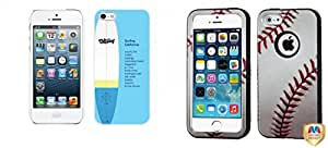 Combo pack Cellet White Proguard Case with Surf for Apple iPhone 5 And MYBAT Baseball-Sports Collection/Black VERGE Hybrid Protector Cover for APPLE iPhone 5 APPLE iPhone 5s