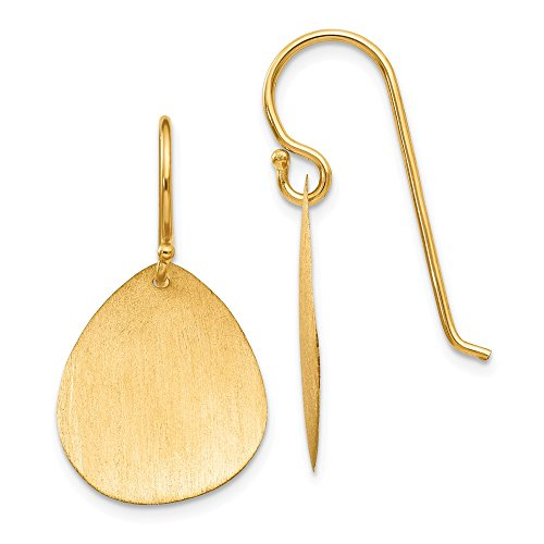 14K Yellow Gold Satin Teardrop Disc Earrings