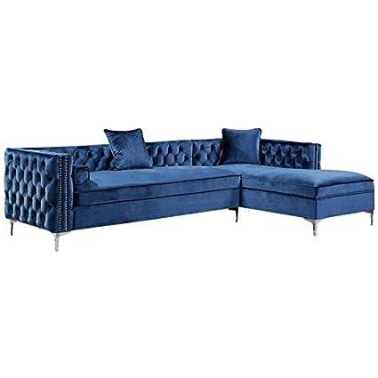 Amazon Com Posh Living Levi Blue Velvet Chaise Sectional Sofa 115
