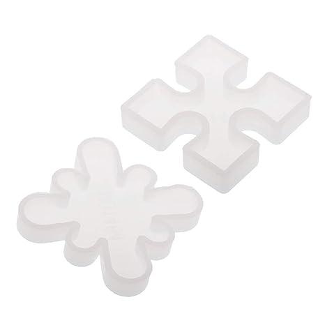 F Fityle 2 Pedazos Molde de Silicona Rompecabezas para Resina Artesanía de Arcilla, Adorno y