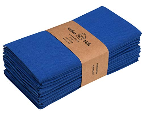 Solid Slub Royal Blue Color,Dinner Napkins, Everyday Use, Premium Quality,100% Cotton Slub, Set of 12, Size 20X20 Inch, Over sized Cloth Napkins with Mitered Corners, Ultra Soft, Durable Hotel Quality (Blue Cloth Napkins)