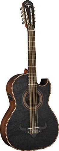 Oscar Schmidt 10 String OH32SE Acoustic-Electric Bajo Quinto with Deluxe Gig Bag-Quilt Trans Black, Right (OH32SEQTB-O)