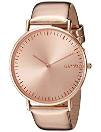 RumbaTime Women's 'SoHo' Quartz Metal and Leather Automatic Watch, Color:Rose Gold-Toned (Model: 26078)