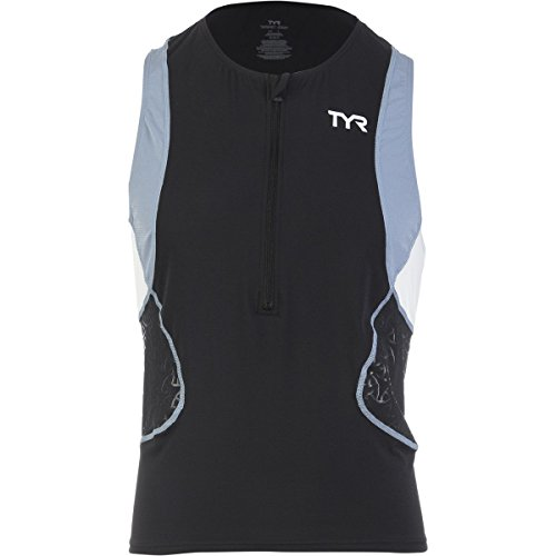 TYR Sport Men's Sport Competitor Singlet (Black/Grey, Large)