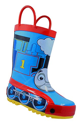Thomas The Tank Engine Children's Rubber Character Rain Boots with Easy-On Handles Simple for Little Kids/Toddler Boys (7 M US Little Kid) Blue