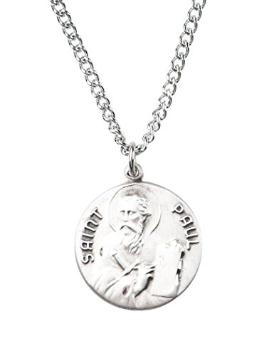 Patron and Protector Medals Sterling Silver Saint St Paul Dime Size Medal Pendant, 3/4 ()