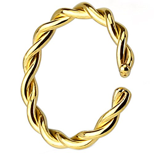 Annealed(Bendable) Gold-Tone IP Steel Twisted Style Nose Ring Hoop (18G 3/8