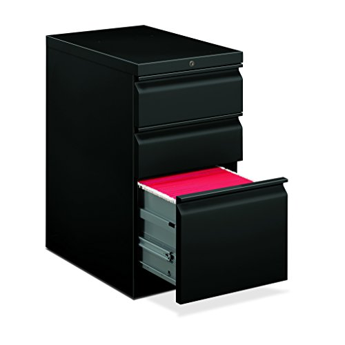 HON Efficiencies Mobile Pedestal File - Storage Pedestal with 1 File and 2 Box Drawers 22-7/8-Inch , Black (H33723R) (Hon Mobile File Pedestal)