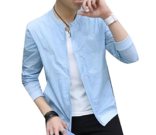 Juniors Fitness Jacket Men Pure Colour Full Howme Zip Coat Blue Vogue w5ZqX1nxF