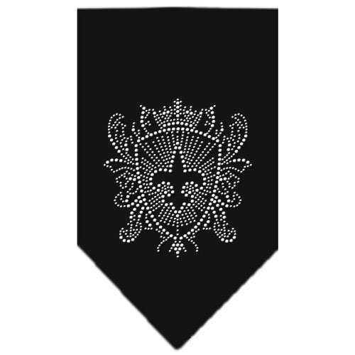 Mirage Pet Products Fleur De Lis Shield Rhinestone Bandana, Large, Black