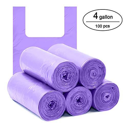 Topgalaxy.Z 4 Gallon Handle-Tie Small Trash Bag, Little garbage bags for Bathroom, Kitchen, 5 Rolls/100 Counts, Size:17.7 x 25.6. Purple