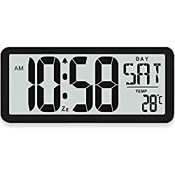 TXL 15.4 Large Digital Wall Clock with Jumbo 4.4 Digits/3 Alarms/3 Chimes/Backlight/Timer, Westminster Chimes Hourly, USB Charging Alarm Clocks for Bedroom Office Hotel Schoolhouse, Black