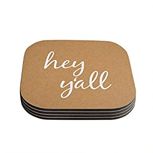 "Kess InHouse KESS Original ""Hey Y'all - White"" White Brown Coasters, 4 by 4-Inch, Set of 4"