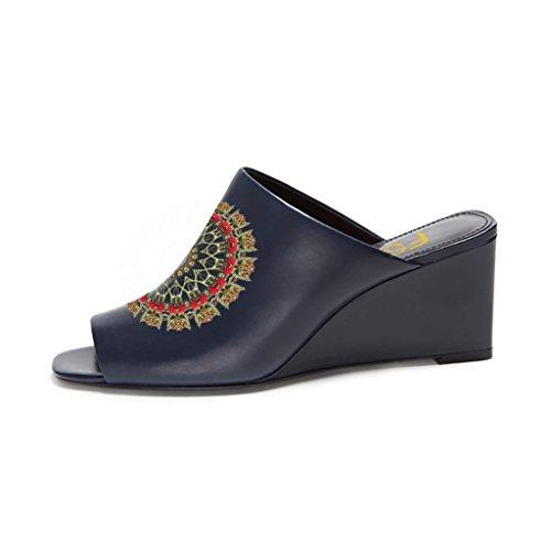 Fsj Vrouwen Sexy Peep Toe Muilezel Stijl Wedge Sandals Instappers Voor Casual Grootte 4-15 Ons Marine-round Floral