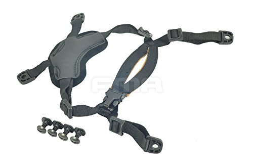 (Ordinary Helmet General Suspension Lanyard with 4 Points Chin Strap with Bolts and Screws For Fast ACH MICH IBH Helmet Black)
