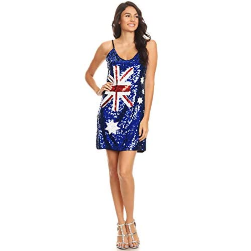 Anna-Kaci Womens Australian Flag Bodycon Spaghetti Strap Sleeveless Sequin Dress - 4132sfkuHVL. SS500 - Getting Down Under Club and Night Out