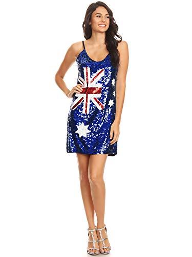 Anna-Kaci Womens Australian Flag Bodycon Spaghetti Strap Sleeveless Sequin Dress, Blue, Medium
