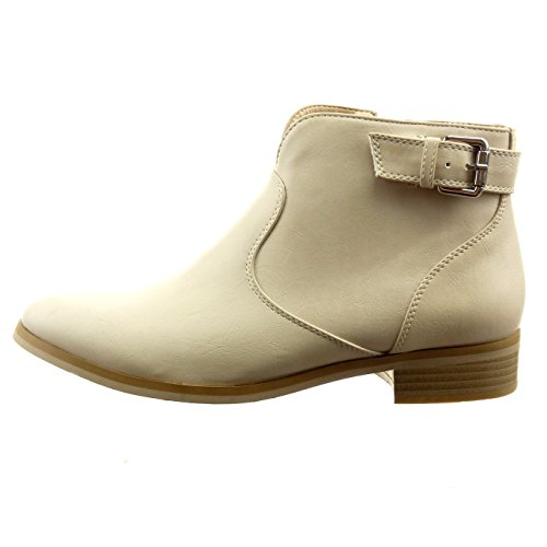 Sopily Women's Fashion Shoes Ankle Boots - Booty - Ankle-High - Cavalier - Low Boots - Zip - Buckle Heel Block Heel 3 cm - Beige u8M3UAXJj