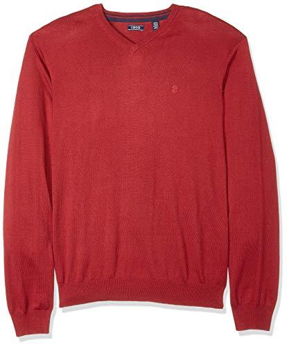 Solid Slim V-neck - IZOD Men's Premium Essentials Fine Gauge Solid V-Neck Sweater, New Biking red, Medium Slim
