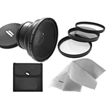 58mm 0.43x Super Wide Angle Lens With Macro (Wider Alternative To Fujifilm WL-FX9B) + 55mm 3 Piece Filter Kit, Includes Ultraviolet, Polarizer & Fluorescent + Nwv Direct Micro Fiber Cleaning Cloth + Stepping Ring 55-58mm