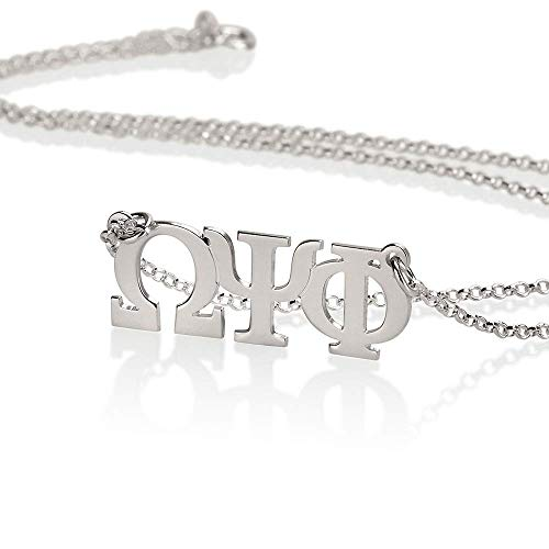 Personalized Omega Necklace (Sorority Gifts, Sorority Necklace, Personalized Necklace - Greek Initial Necklace fraternity Charm, 925 Sterling silver charm)