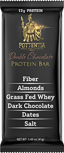 Pottentia Grass Fed Whey Protein Bar, Double Chocolate, Simple Natural Ingredients, Eight 41g Bars, Prebiotic Fiber, Gluten Free, Non GMO, No Sugar Alcohol
