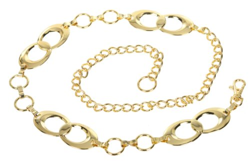 Ladies Metal Oval Circle Chain Belt Size: One-size-fits-all Color: (Ladies Metal Chain Belt)