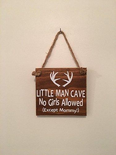 Brown Little Man Cave No Girls Allowed ™ Antler Door Sign (Girl Sign Door)
