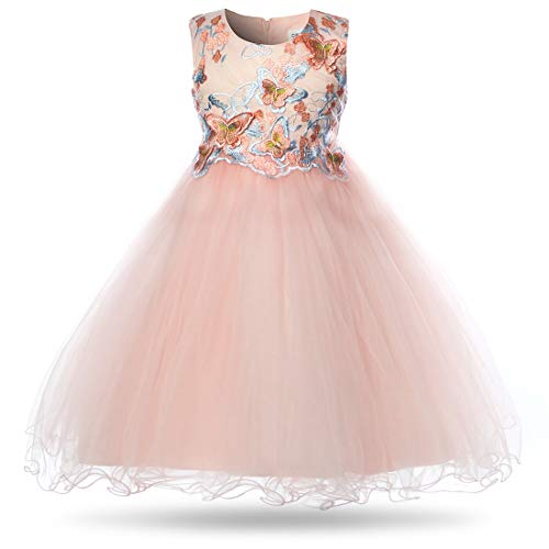 CIELARKO Girls Dress Flower Kids Butterfly Wedding Party Dresses,6-7 -