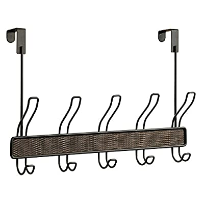 """InterDesign Twillo Over Door Storage Rack – Organizer Hooks for Coats, Hats, Robes, Clothes or Towels – 5 Dual Hooks… - EXTRA STORAGE: Over door rack has 5 double hooks - perfect for coats, clothes, towels or purses. CONTEMPORARY DESIGN: Steel organizer rack with modern bronze finish and woven plastic accents. EASY TO INSTALL: Storage rack hangs over standard interior doors up to 1.75"""" - no tools or hardware. - entryway-furniture-decor, entryway-laundry-room, coat-racks - 4132tYzKtXL. SS400  -"""