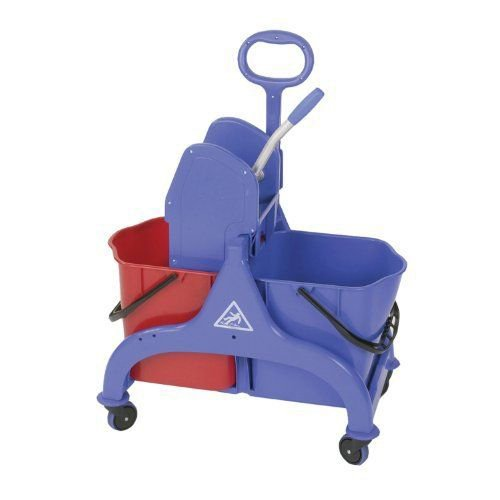 CONNECTICUT CLEAN ROOM CORP 2720 PP Double Bucket, Wringer, 6.5 gal, Red/Blue