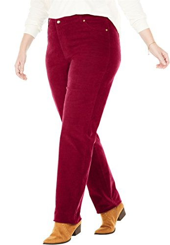 ze Petite Corduroy Straight Leg Stretch Pant - Rich Burgundy, 22 WP ()