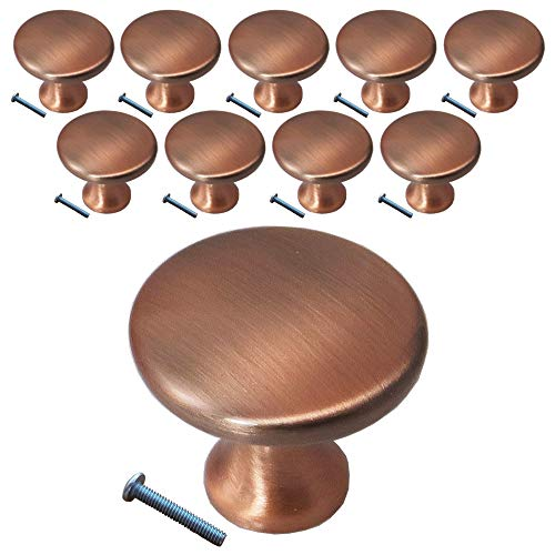(10 Pack, Knob) Swiss Kelly Antique Copper Kitchen Cabinet Pull Drawer -