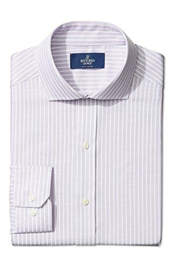 Buttoned Down Men's Fitted Cutaway-Collar Purple Textured Non-Iron Dress Shirt, Purple, 18 (Textured Cotton Dress Shirt)