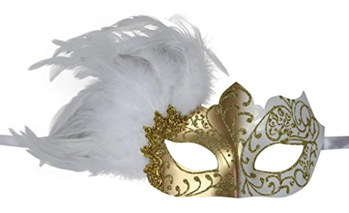 [KAYSO INC Venetian Masquerade Mask with Feathers Gold & White] (White And Gold Masquerade Mask)