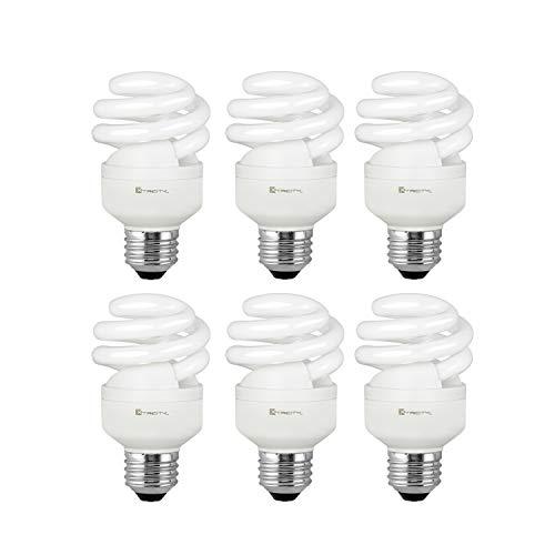 Compact Fluorescent Light Bulb T2 Spiral CFL, 4100k Cool White, 9W (40 Watt Equivalent), 540 Lumens, E26 Medium Base, 120V, UL Listed (Pack of 6)