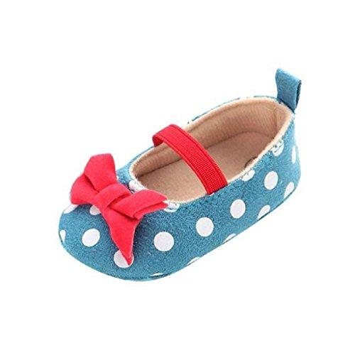 Bebé Prewalker Zapatos Auxma Baby Dot Butterfly antideslizante zapatos de niño suave,Princesa Zapatos para 0-6 6-12 12-18 meses Azul