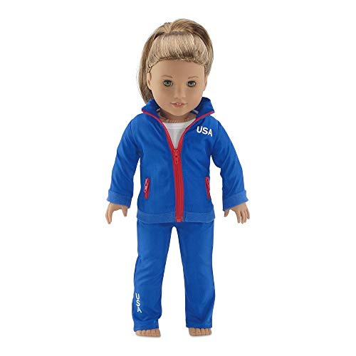 Emily Rose 18 Inch Doll Clothes | Team USA 2 Piece Warm Up Doll Outfit, Including Jacket with Full Zip Closure and Matching Pants | Fits 18 American Girl Dolls | Gift Boxed!