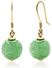 14k Yellow Gold Natural Green Jade Hand Carved Wire Drop Dangle Earrings