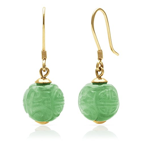 14k Yellow Gold Natural Green Jade Hand Carved Wire Drop Dangle Earrings by Pearlzzz