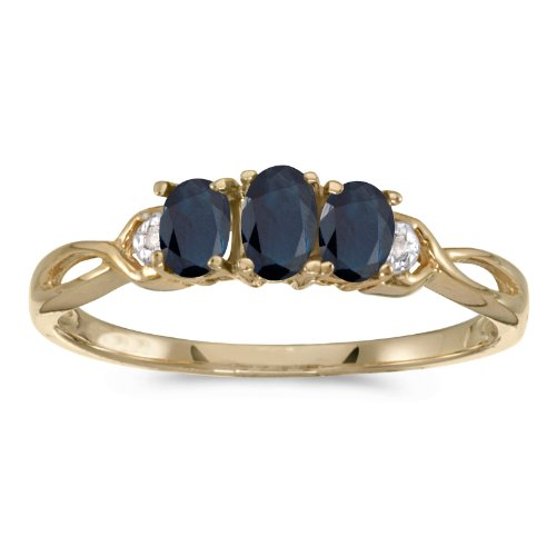 10k Yellow Gold Oval Sapphire And Diamond Three Stone Ring (Size 6)